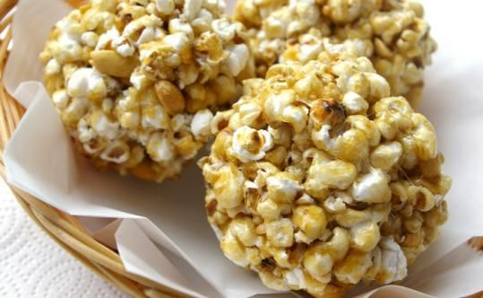 Homemade popcorn balls!  I loved to get these from neighbors on Halloween.  That was when you could actually get homemade goodies from strangers and not have to search it for needles.