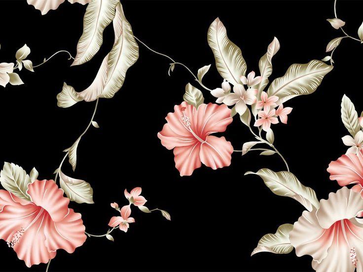Dark Floral II Black Saturated Wallpaper Black floral