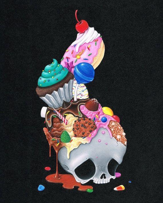 Sugar Fueled Skull Skeleton Candy Sweets Desserts Sugar Rainbow Ice Cream  Pop Surrealism Surreal Lowbrow creepy cute big eyes eye art