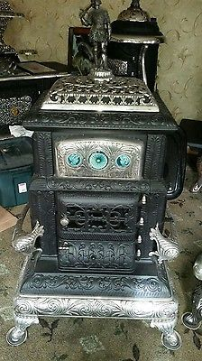 antique stove, parlor stove, Woodbine #23 with finial and stove tile