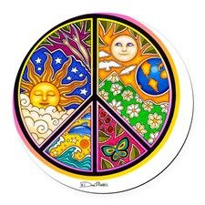 PEACE SIGN BY©DAN MORRIS Round Car Magnet for