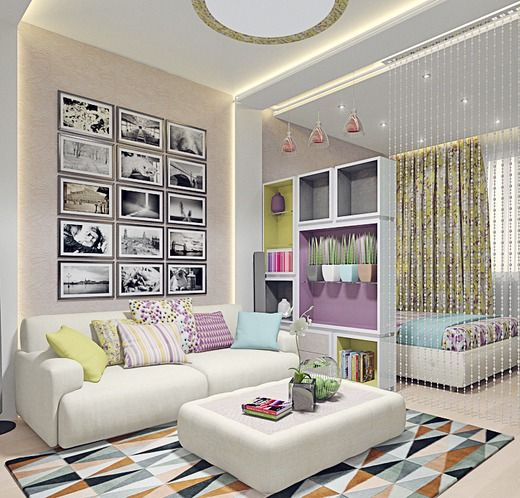 Woman cave living space with soft pastel colors threw out space