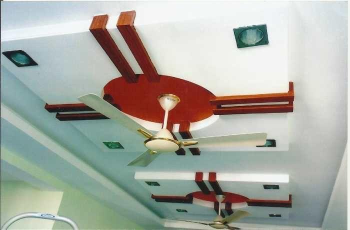 False Ceiling in maroon