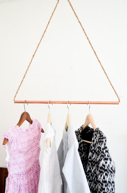 """Easiest """"clothes"""" rack you'll ever see, made of copper & I think wire cable but the latter might be just a rough & colored piece of rope. You can't exactly put a lot on it but it looks kind of cute ;)"""