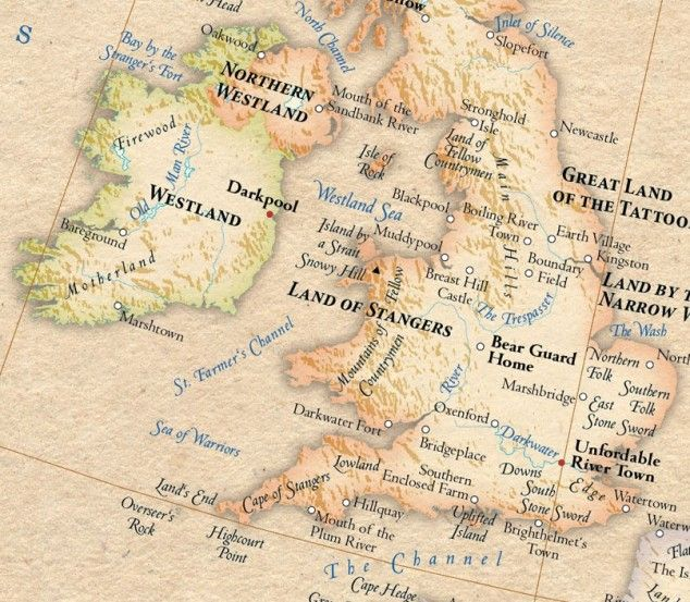 """Magical and totally real.  A map of the world (here a section of England) with the placenames changed to their original meaning.  """"Etymological Map"""" is wondrous."""