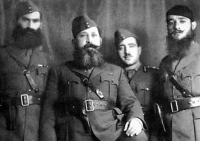 Gen. Napoleon Zervas (second from left) with some of his officers of the resistance National Republican Greek League during the Nazi occupation of Greece, 1941-44.