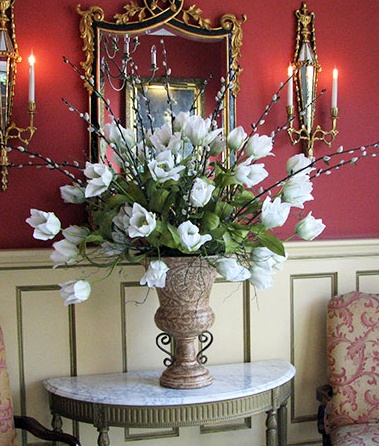 FOYER: A Side Table Of White French Tulips And Pussy Willow Branches Is  Always Elegant