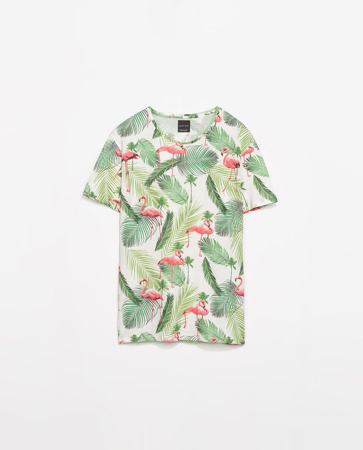 Flamingo Print T Shirt Zara Style Men 39 S Clothing