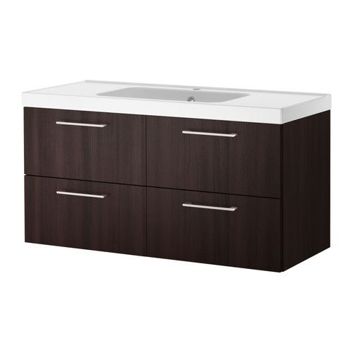 "GODMORGON/ODENSVIK Sink cabinet with 4 drawers - black-brown, 47 1/4x19 1/4x25 1/4 "" - IKEA"
