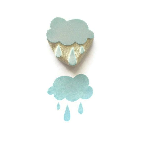 Little Blue, Rain Cloud - Rubber Stamp, Rain Cloud Stamp - Cling Rubber Stamp