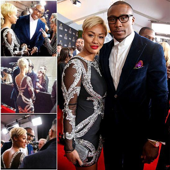 NFL Brandon Marshall Sexy | Michi Marshall & Brandon Marshall | 2014 NFL Honors Awards Red Carpet