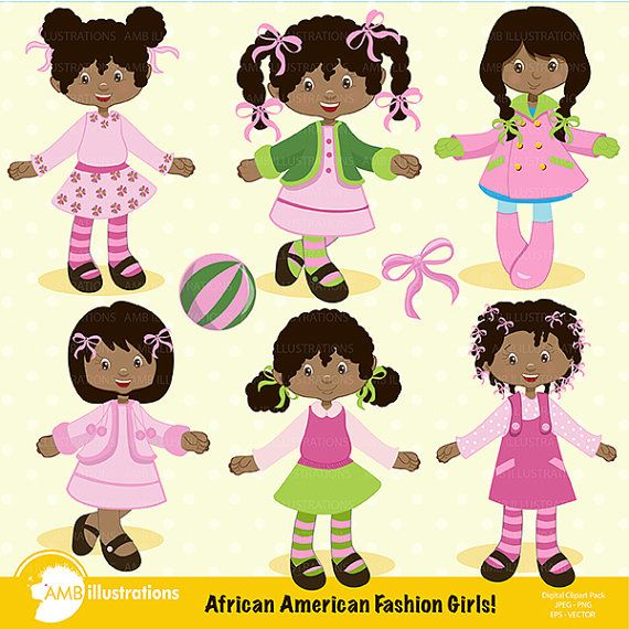 80%OFF African American girls clipart, Fashion girl clipart, School girl clipart, African American girl clip art, commercial use, AMB-199