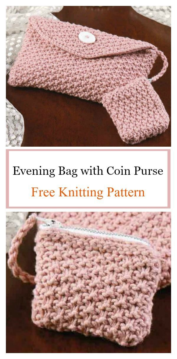 Silky Pink Evening Bag with Coin Purse Free Knitting Pattern ...
