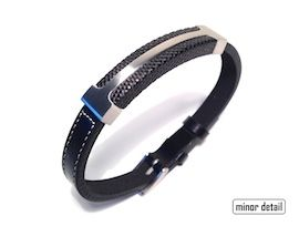 #Mens #Bracelet featuring slim watch band type clasp in Stainless Steel on Black #Leather band. One size fits all and comes Gift Boxed from #MinorDetail #Jewellery