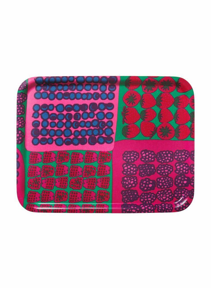 Mummolan marjat -tarjotin (vihreä, pinkki, punainen)   Marimekko