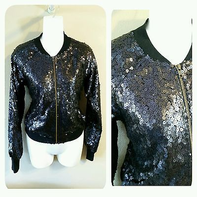 VICTORIA'S SECRET RARE FASHION SHOW BLING SEQUIN BOMBER BLACK ZIP JACKET XS