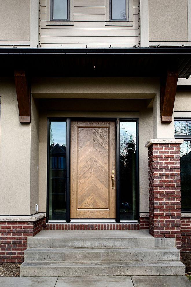 Front Door Custom Chevron Front Door Stained To Match The Interior Woodwork Custom Front Doors Garage Door Design Custom Home Designs