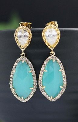 Mint + Gold Luxury Bridal Earrings from EarringsNation Wedding Jewelry Mint and gold wedding Bridesmaid gifts