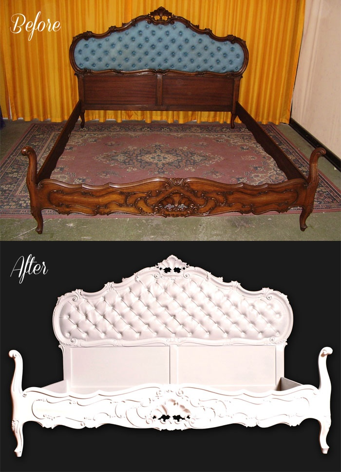 Before & After antique baroque bed - restauro laccatura capitonnè letto barocco atelier myArtistic... read more: http://myartistic.blogspot.it/2012/07/restauro-laccatura-capitonne-letto.html