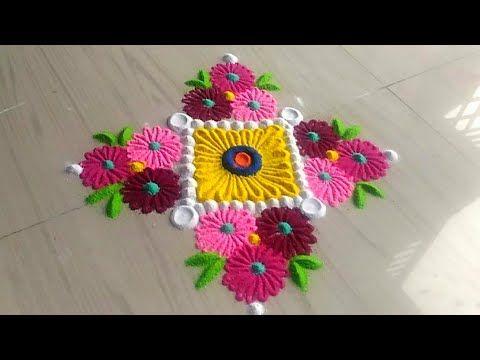 Innovative Flower Rangoli Designs Using Crafts Easy Kolam Designs