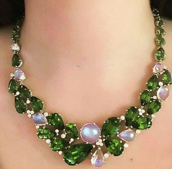 Stunning Peridot and Moonstone Necklace