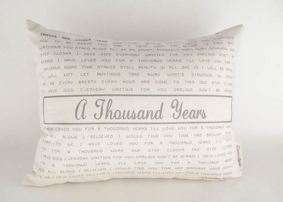 Song Lyrics Pillow Favorite Poem Two Year by DoveAndDavid on Etsy