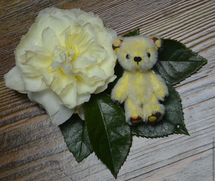 Купить Мишка Орешек 5см - желтый, миник, миниатюра, миниатюра для кукол, миниатюрный мишка, тедди
