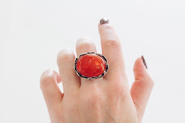Silver Leaf Detail Carnelian Ring
