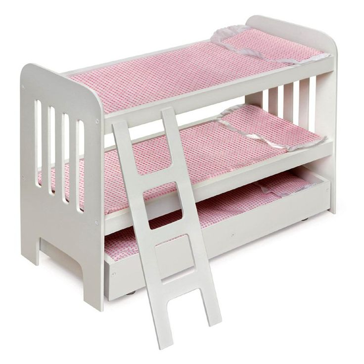 Badger Basket Pink Gingham Princess Doll Bunk Bed with Wheeled Trundle - 01857