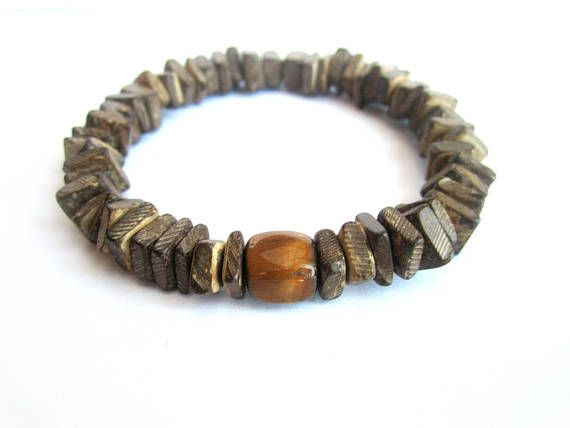 Coconut bead bracelet mens stretch bracelet coconut and