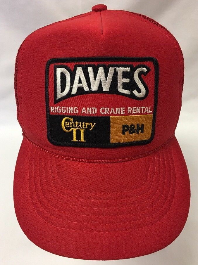 f2acdadf Vintage Trucker Hat Red Dawes Century Rigging Crane Patch Red Mesh SnapBack  | eBay