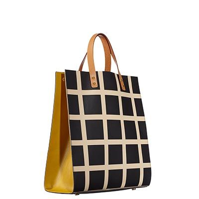 Orla Kiely | UK | bags | SALE - Bags | Printed Check Leather Willow Bag (15ABPCL067) | black