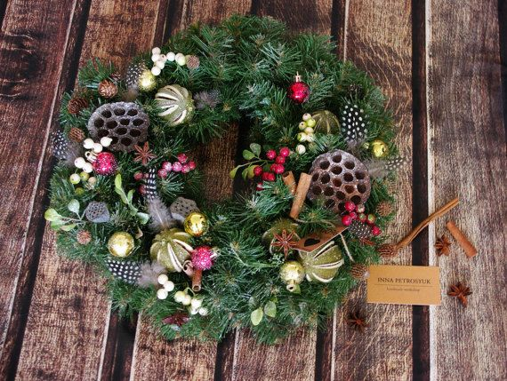 Christmas Wreath for front door. Winter by WorkshopByInnaSt