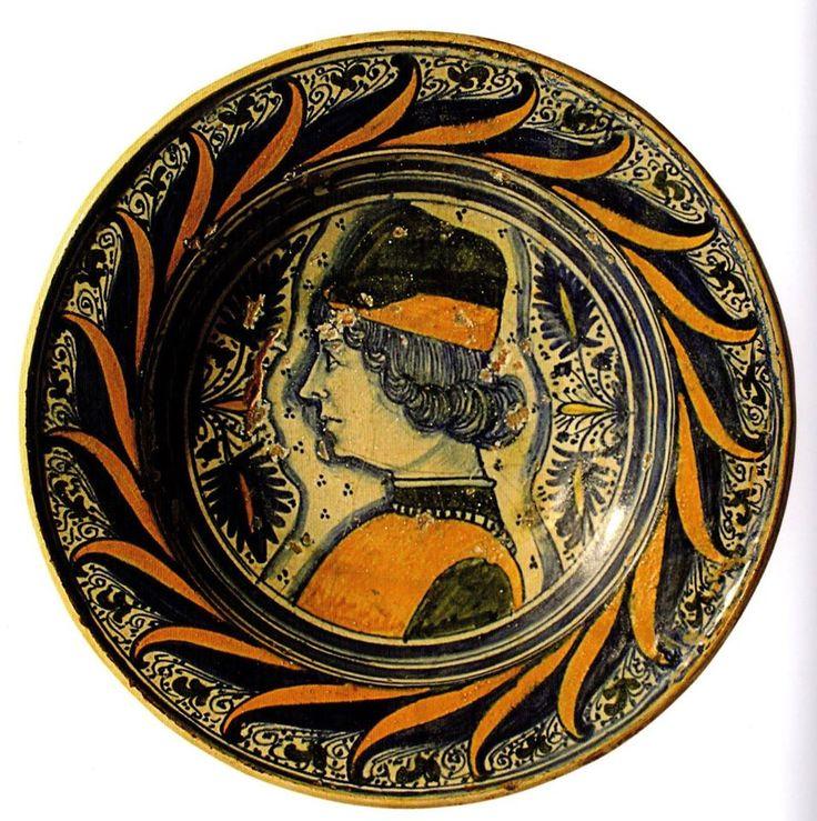 Manifattura di Deruta - Piatto con profilo maschile - Collezione Freddi -