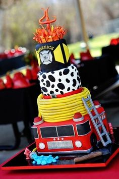 wild land fire cake | Firefighter Tower Cake | Shared by LION