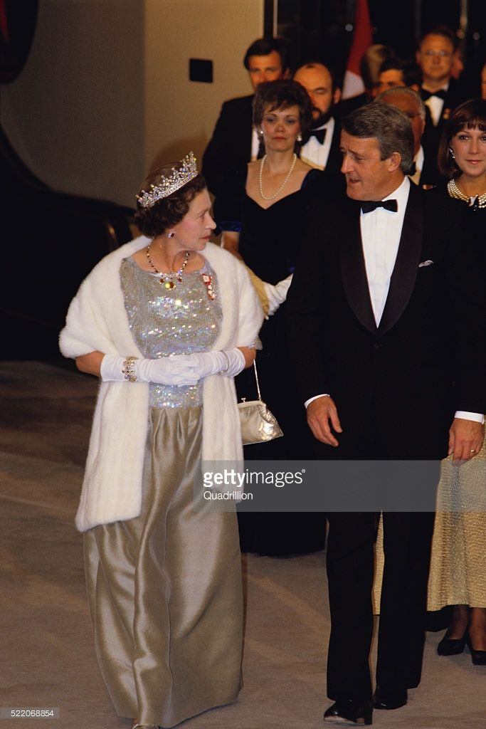 Queen Elizabeth II and Canadian Prime Minister Brian Mulroney