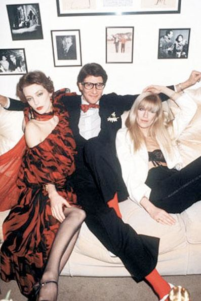 Yves Saint Laurent with Lou Lou de la Falaise and Betty Catroux, 1970s....  www.fashion.net nice reds
