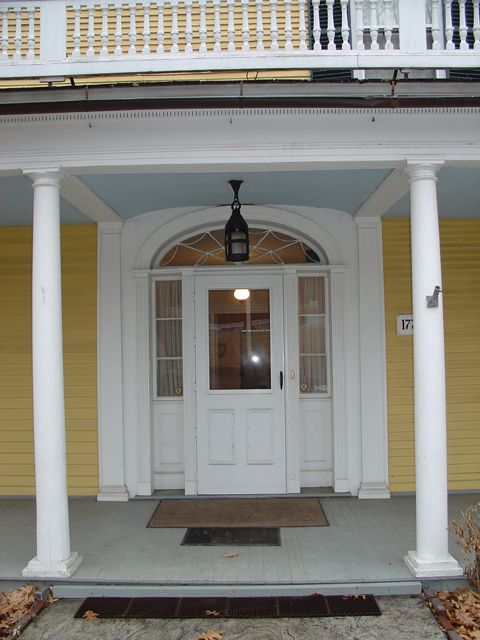 Exteriod Door Covered Porch Dutch Colonial