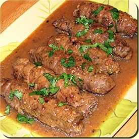 German Beef Rouladen- I followed the directions except I used yellow mustard, polish pickle and didn't use the wine. It came out fantastic and delicious.  I will be fixing this again!!  YUMMY!