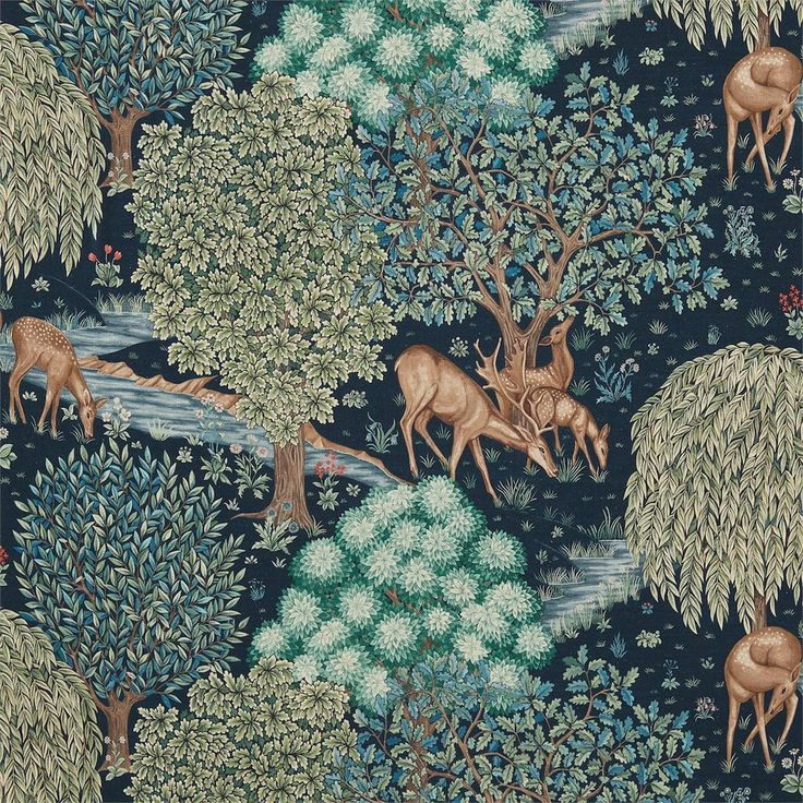 The Brook Fabric - Tapestry Blue (224497) - William Morris & Co Archive 3 Fabrics Collection