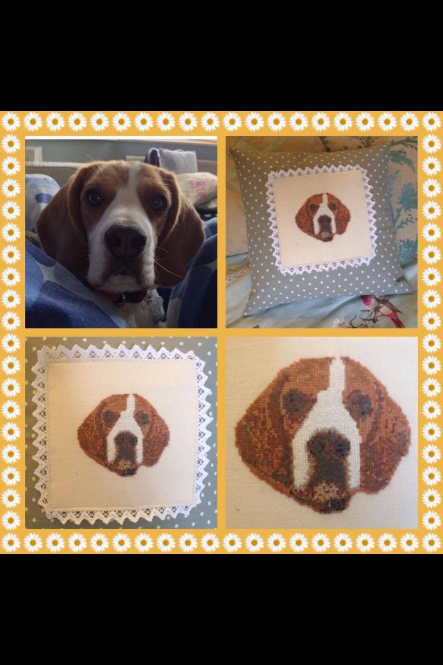 Beagle cushion. Hand embroidered from a photograph