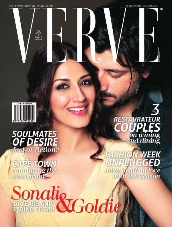 Sonali Bendre & Goldie Behl on the cover of Verve (Feb 2013)