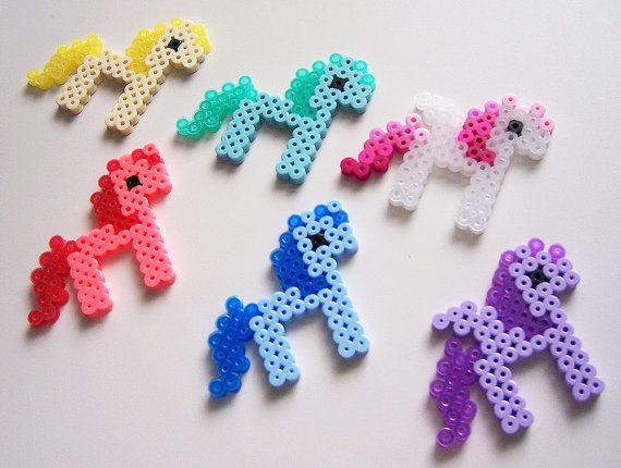 Cute Kawaii Pixel Ponies Perler Beads - Yellow Red Green Blue Purple White & Pink Glitter via Etsy