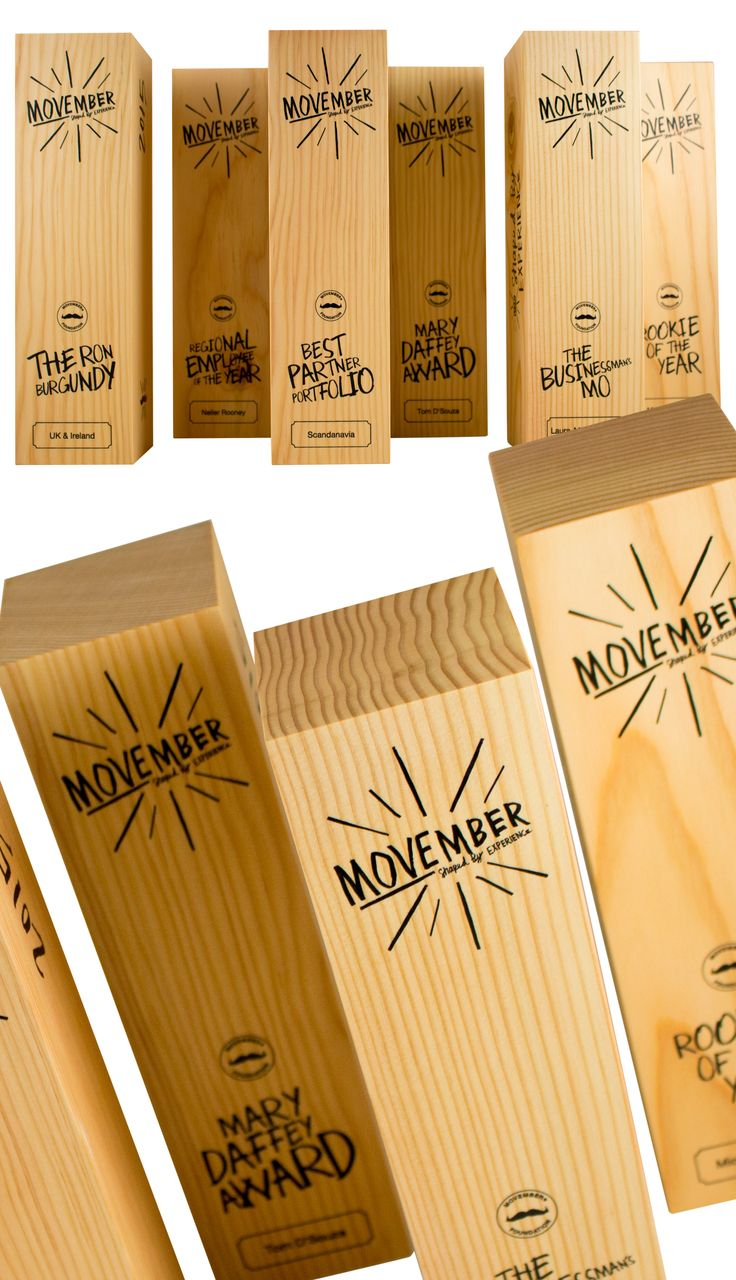 Our custom trophies / awards for the Movember Foundation. Handcrafted from Douglas Fir.