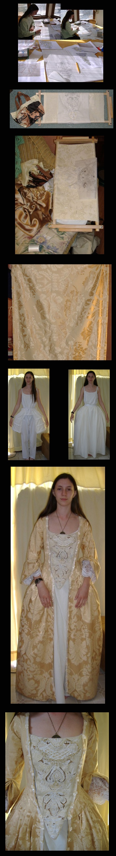 Making my Elizabeth Swann Gold Gown movie costume from Pirates of the Caribbean: Curse of the Black Pearl. I used The Costumer's Guide to Movie Costumes (http://costumersguide.com/pirates_gold.shtml) and Anna/Naboo-Girl's excellent stomacher pattern which you can find here: http://www.eastofthewoods.com/c-elizstomacher.html (no longer available - she can be contacted at anna.osterwald@gmail.com) I used iron-on tear-away transfer paper to embroider it. I had a lot of help from my mom on this…