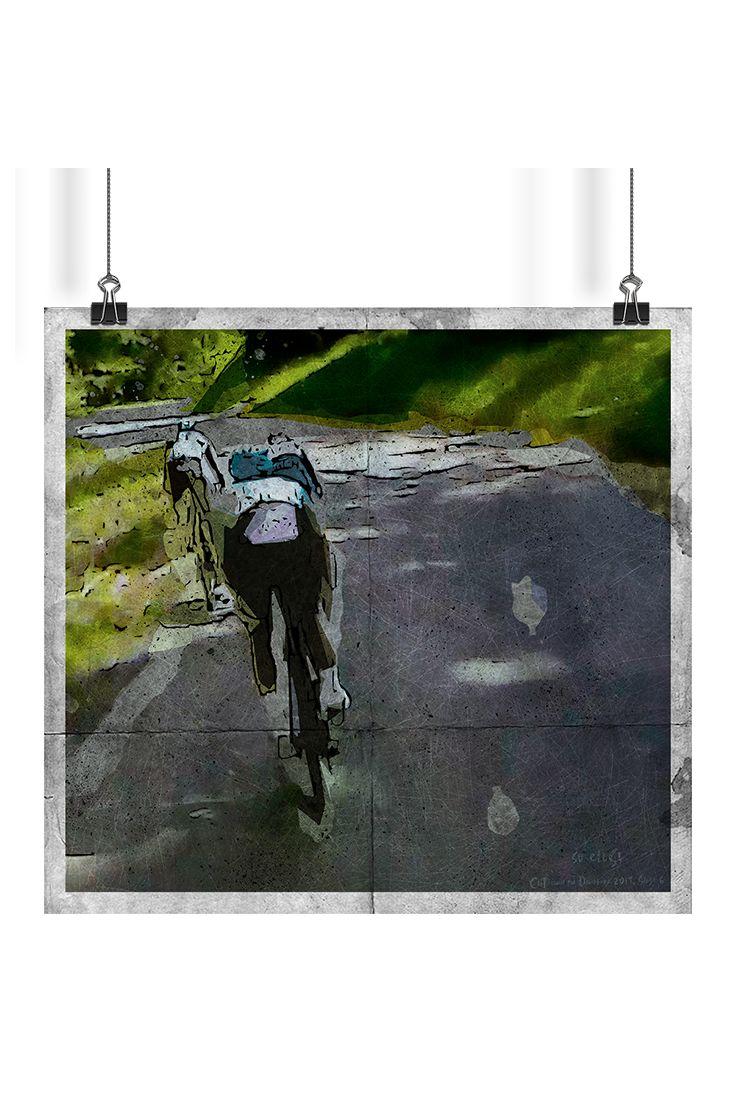 "Watercolor sketch artworks of incredible moments during descend in Stage 6 Critérium du Dauphiné 2017 from Parc des Oiseaux - Villars-les-Dombes to La Motte-Servolex. First sketch ""Too Close"" on roadside where Chris Froome passed Richie Porte & Jakob Fuglsang."
