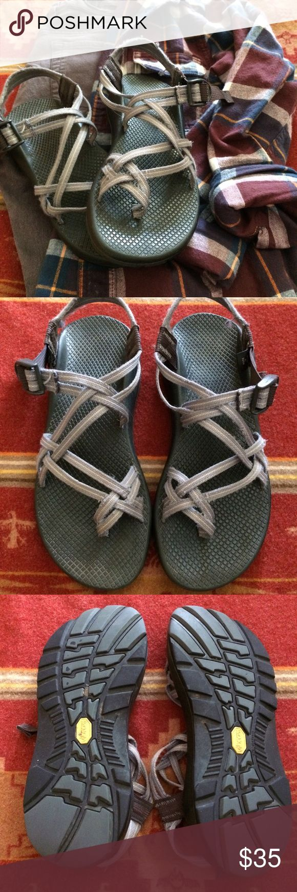 Grey Women's Chaco Sandals - size 10 Grey Women's Chacos with the double strap and toe loop. These have seriously taken me all over. It have a lot of life left in them. Chacos last forever and can at any time be sent back to the factory to be repaired, re-webbed, or re-soled. Best all terrain sandals out there. Size 10. Chaco Shoes