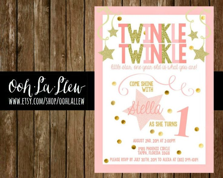 Pink and Gold Twinkle Twinkle Little Star First by OohLaLlew, $1.50