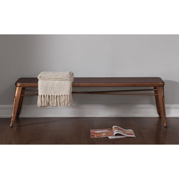 60 Inch Tabouret Brushed Copper Indoor Bench
