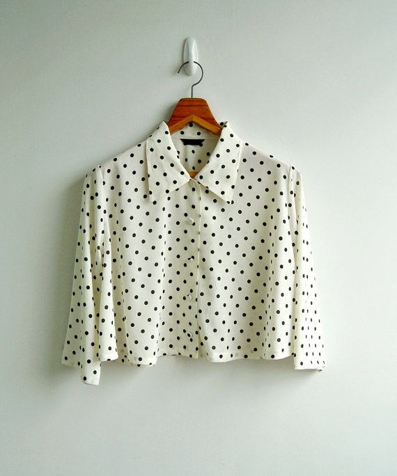Vintage Black and Offwhite Polka Dot Long Sleeve by sweetdecade, $24.00